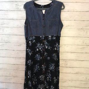 Carole Little Denim Floral Midi Dress - Size Large